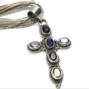 Jeweled cross liquid silver necklace